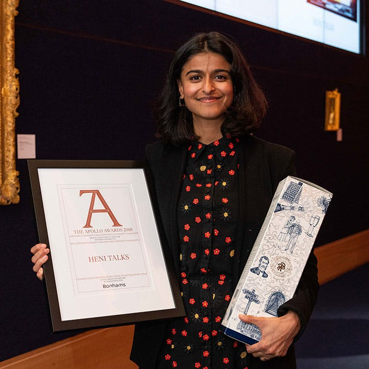 Munira Mirza of HENI Talks collects the Apollo Digital Innovation of the Year Award.