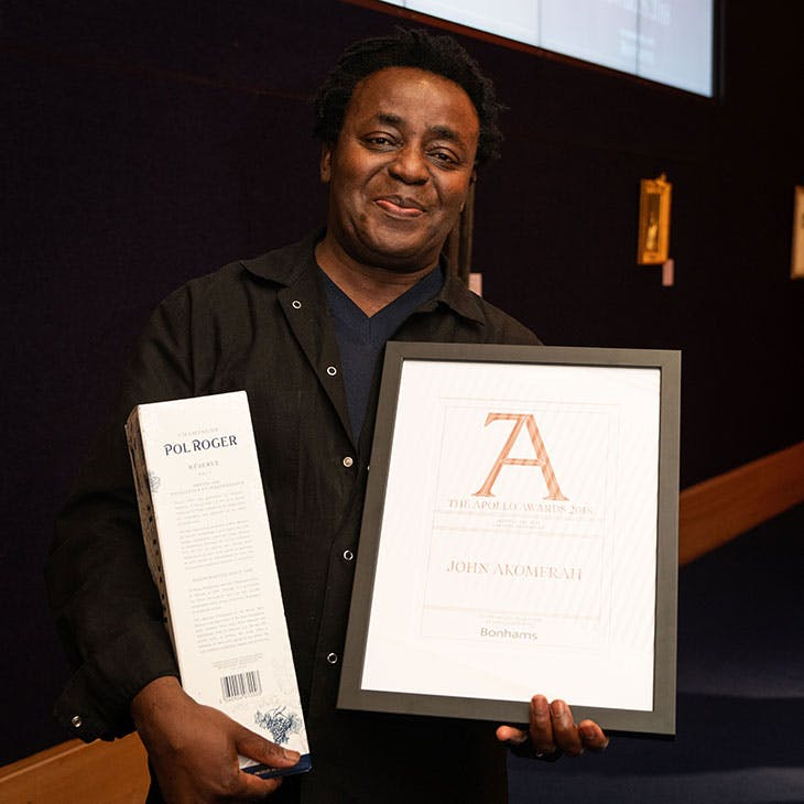 John Akomfrah collects the award for Artist of the Year.