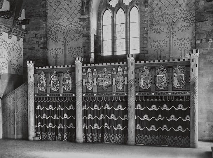 The musicians' gallery, Håkonshallen, Bergen, photographed after Munthe's decoration of the hall and before its destruction in 1944. Photo: O. Væring