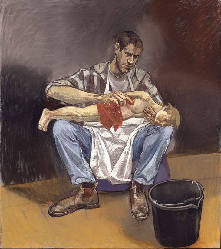 Geppetto washing Pinocchio (1996), Paula Rego.