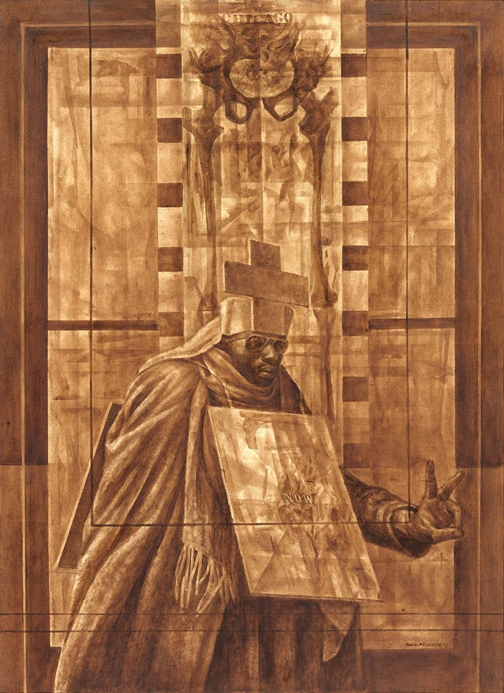 Black Pope (Sandwich Board Man) (1973), Charles White. The Museum of Modern Art, New York.