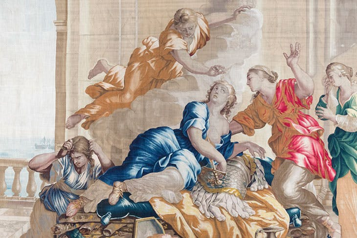 Death of Dido (detaill c. 1658–70s), Antwerp, Workshop of Michel Wauters, after cartoons by Giovanni Francesco Romanelli.