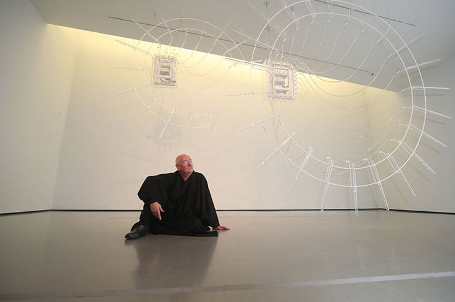 Cerith Wyn Evans in front of his work Composition for 37 flutes (in two parts), 2018; Photo: © Danny Lawson/PA Wire