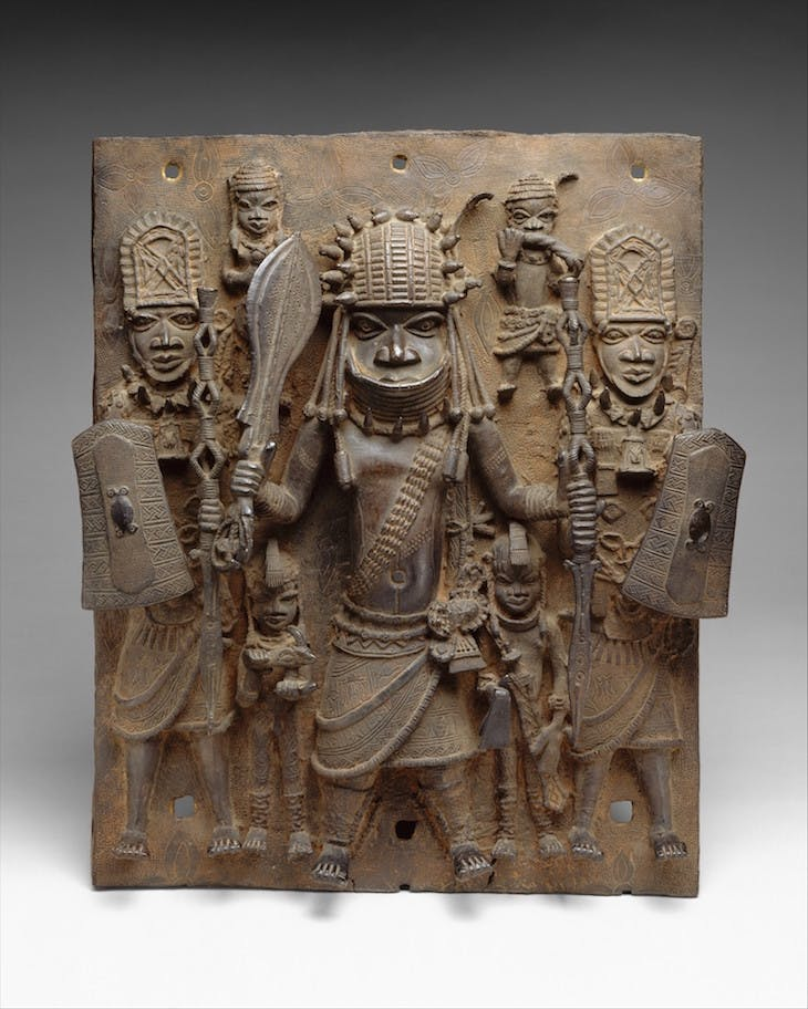 Plaque depicting warrior and attendants (16th–17th century), Edo peoples, Benin kingdom, Nigeria.