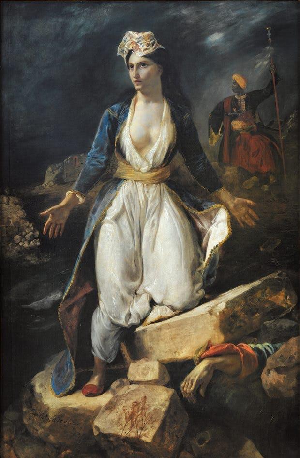 Greece on the Ruins of Missolonghi, (1826), Eugène Delacroix. Musée des Beaux-Arts de Bordeaux.