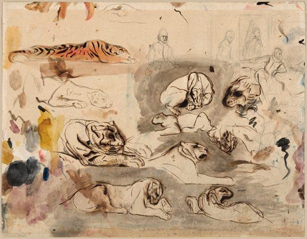 Sketches of Tigers and Men in Sixteenth-Century Costume, (c. 1828–29), Eugène Delacroix. The Art Institute of Chicago.