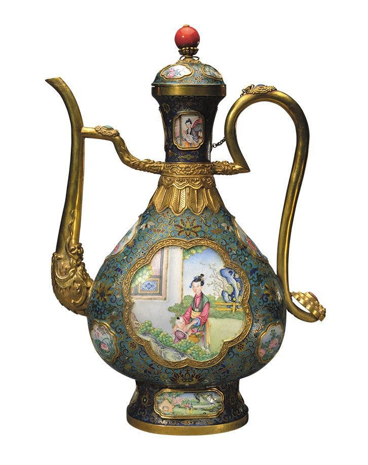 Ewer with lady and boy in Garden, Qianlong period, (probably 1760s/70s) Imperial Workshop, probably Beijing.