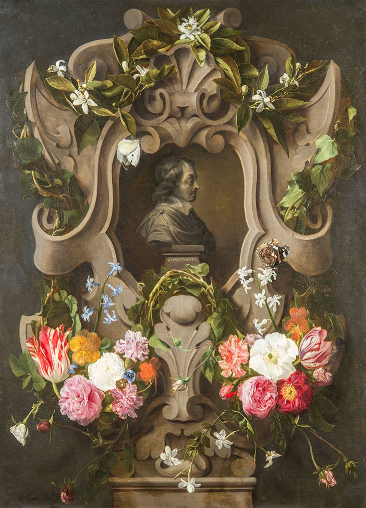 Bust of Constantijn Huygens Surrounded by a Garland of Flowers (1596–1687)(1644), Daniel Seghers & Jan Cossiers.