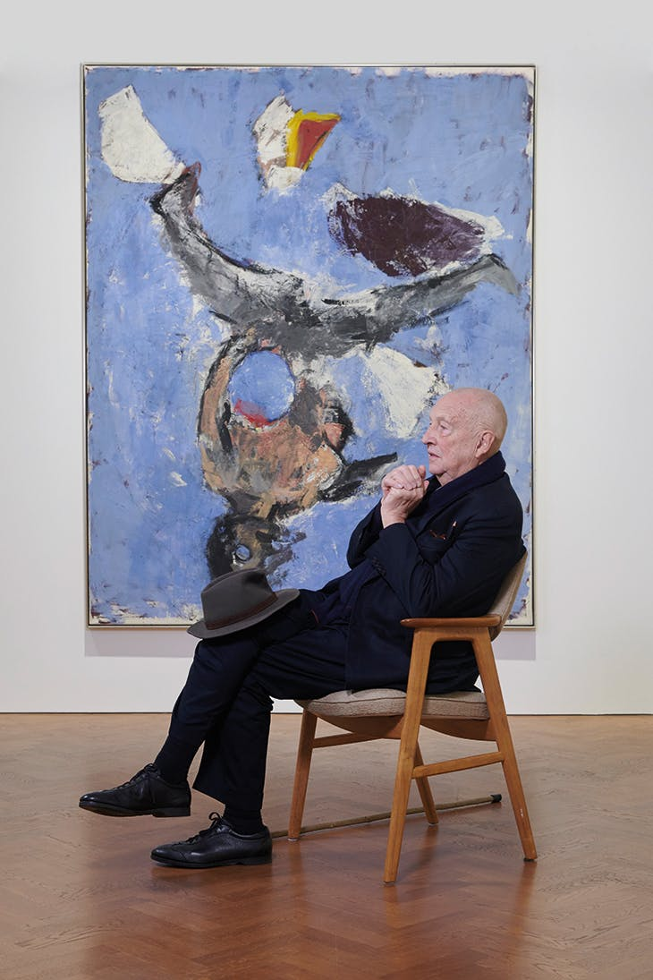 Georg Baselitz in front of 'Maria in Knogge – Strandbildd 5' (1980), photo: Ben Westoby; courtesy Galerie Thaddaeus Ropac; ©