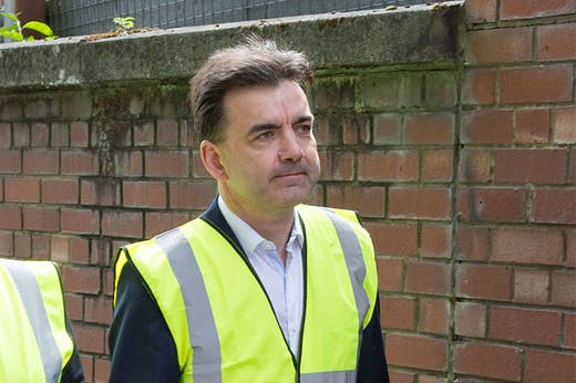 Tom Inns, who has resigned as director of the Glasgow School, at an inspection of the damage done to the Mackintosh Building in June 2018.)