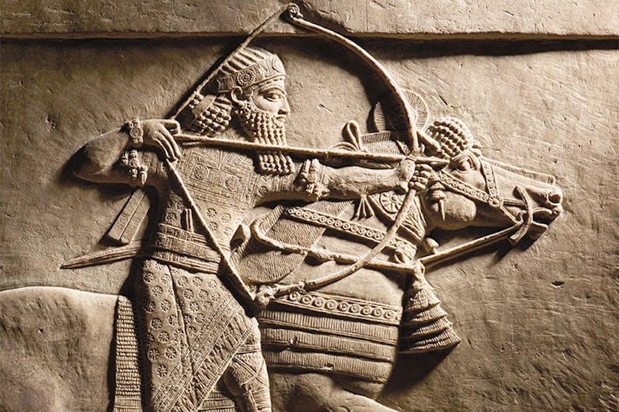Relief detail of Ashurbanipal hunting on horseback (645–35) BC, Nineveh, Assyria.