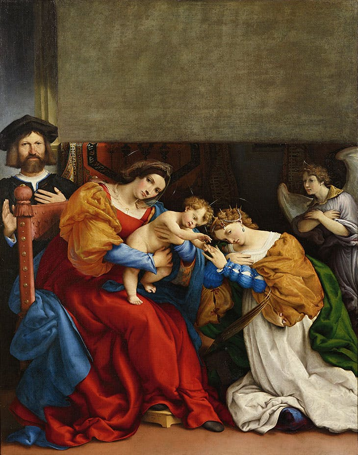 Mystic Marriage of Saint Catherine with Donor Niccolò Bonghi (1523), Lorenzo Lotto.
