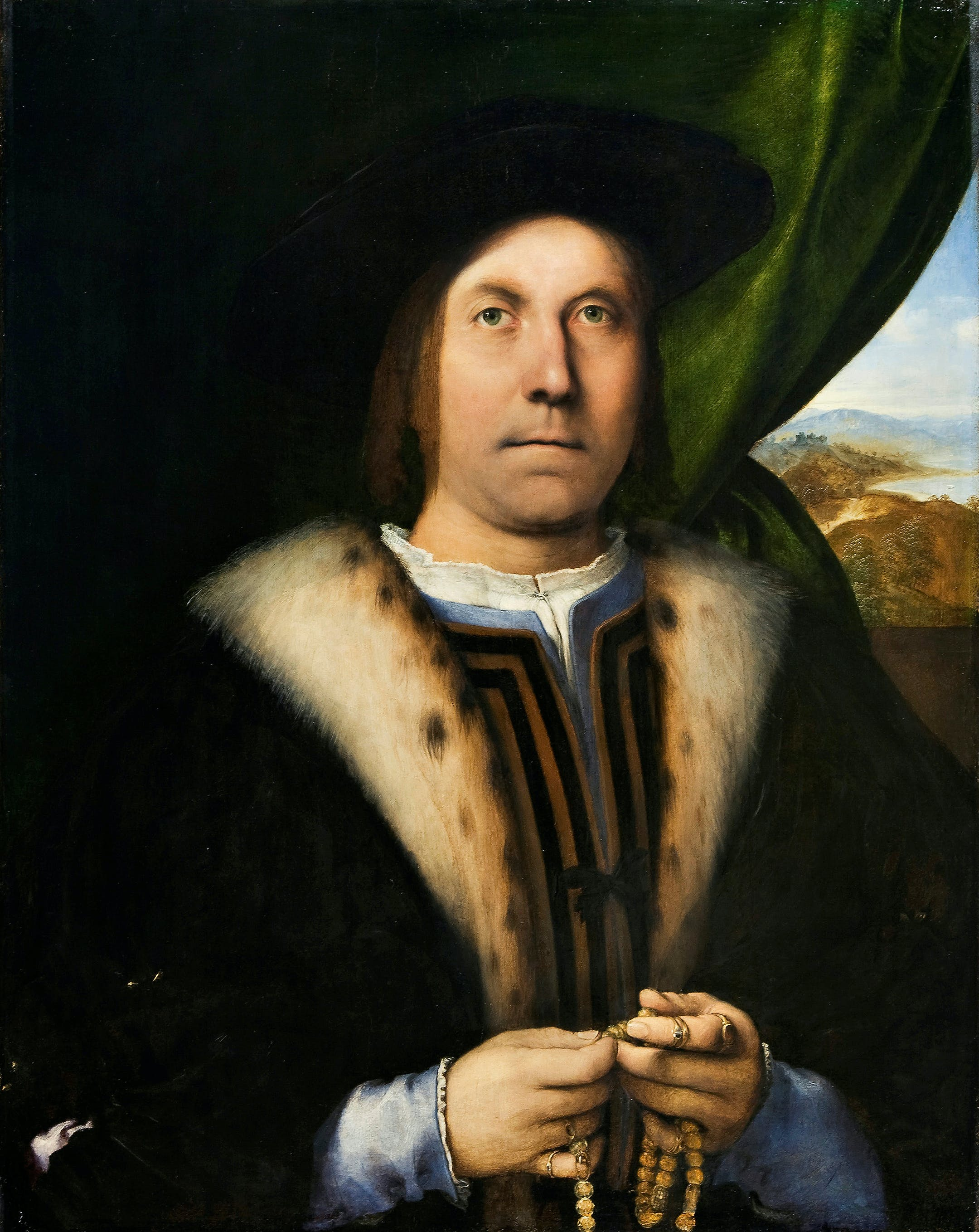 Portrait of a Man with a Rosary, (c. 1520), Lorenzo Lotto.