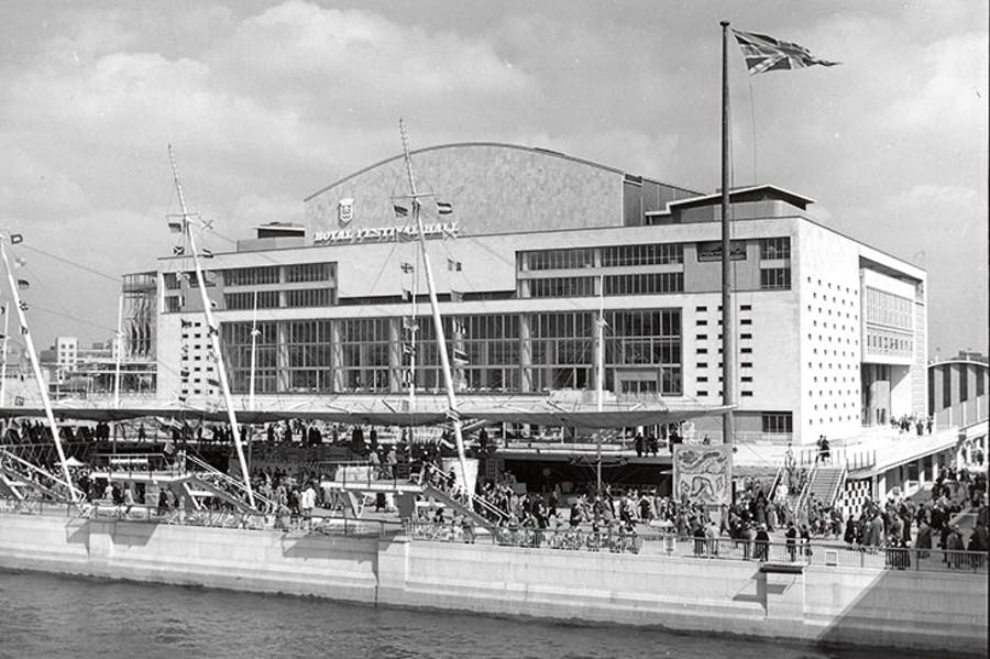 The riverside façade of the Royal Festival Hall, London, designed by London County Council Architects' Department in 1951 (photo: 1951)