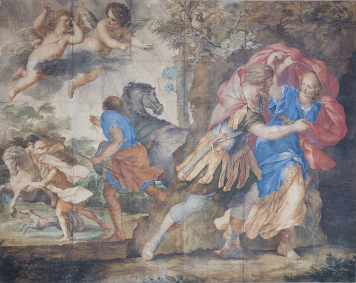 Royal Hunt and Storm (c. 1630-35), Giovanni Francesco Romanelli. Norton Simon Art Foundation