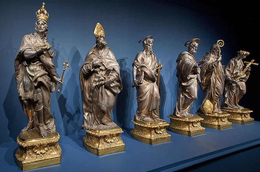 Installation view of 'Luigi Valadier: Splendor in Eighteenth-Century Rome' at the Frick Collection, New York, 2018. Pictured are the statues of the six saints from the High Altar of the Cathedral of Santa Maria la Nuova, Monreale, from c. 1773.