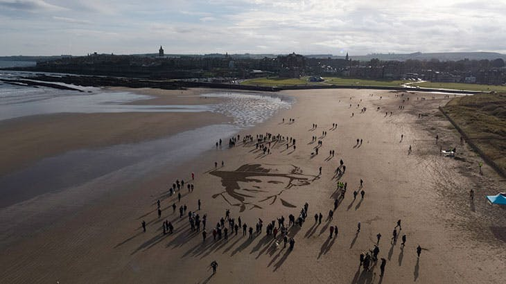 Pages of the Sea (2018), Danny Boyle. View of West Sands in St Andrews on 11 November 2018.