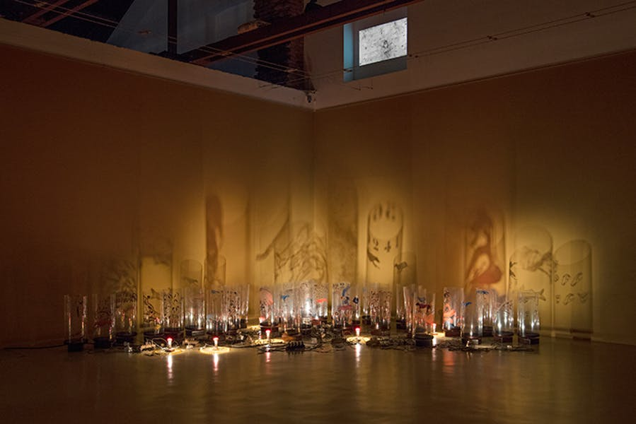 Installation view of 'The Tables Have Turned' (2008) by Nalini Malini at Castello di Rivoli Museo d'Arte Contemporanea, Rivoli-Torino in 2018.