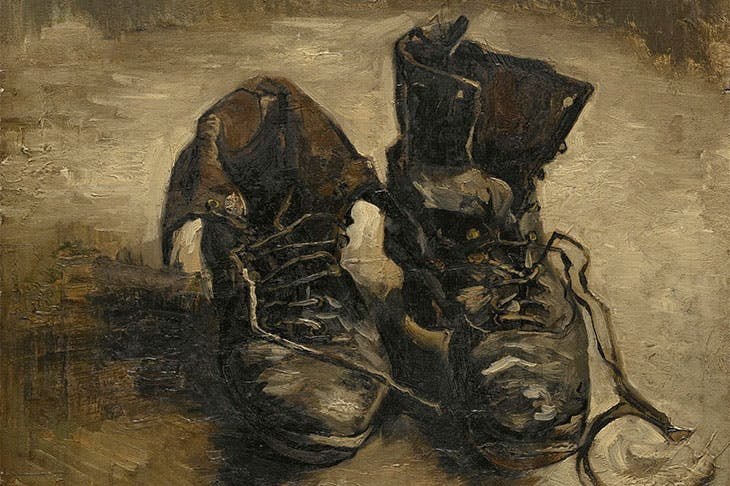 Shoes (detail; 1886), Vincent van Gogh.