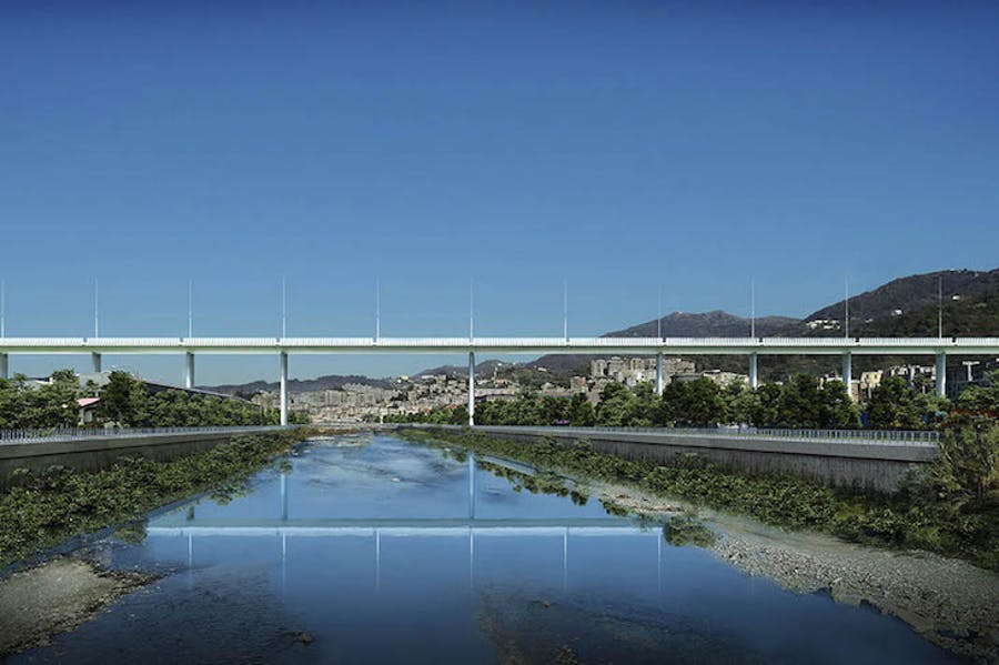 Rendering of Renzo Piano's design for a new bridge in Genoa.