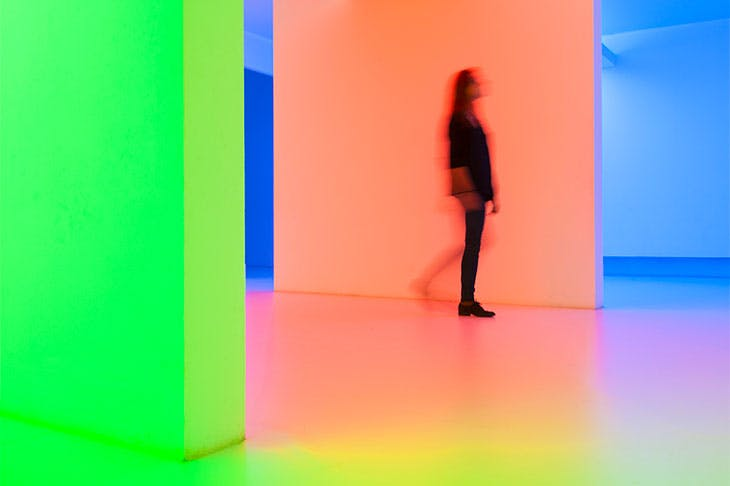 Chromosaturation (1965), Carlos Cruz-Diez. Installation view of the exhibition 'Dynamo, A Century of Light and Motion in Art' at the Grand Palais, Paris, 2013.