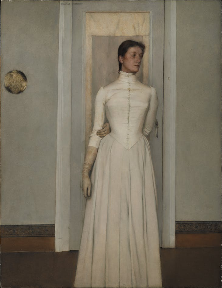 Portrait of Marguerite Khnopff (1887), Fernand Khnopff. Royal Museums of Fine Arts of Belgium, Brussels.