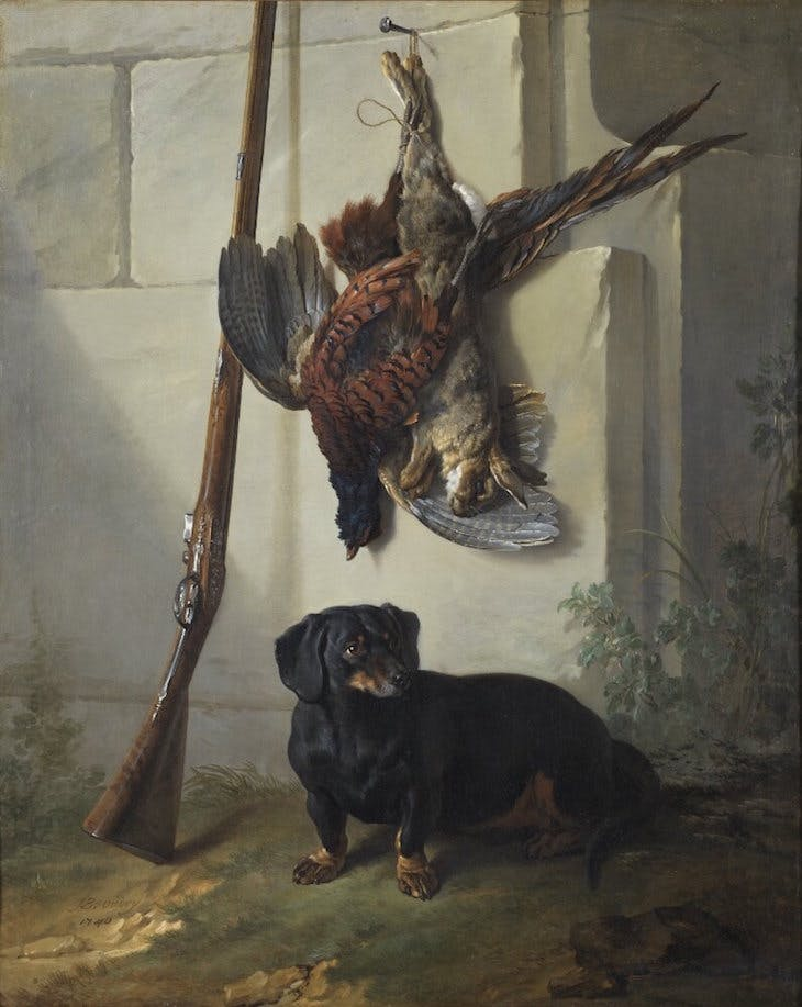 The Dachshound Pehr with Dead Game and a Rifle, Oudry