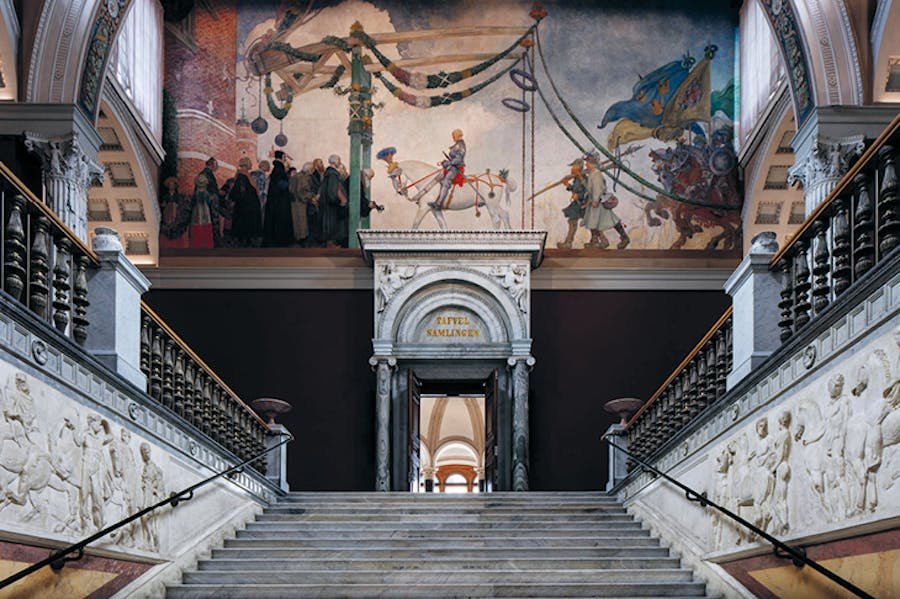 The upper stair hall at the Nationalmuseum, Stockholm.