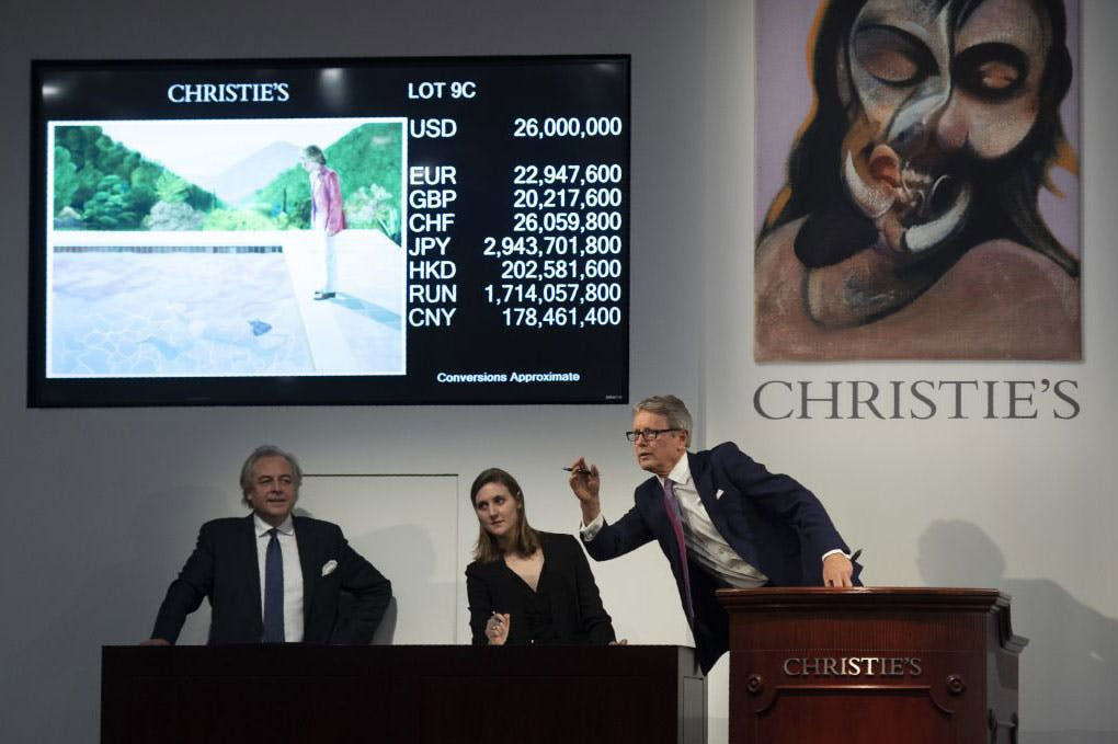The sale of David Hockney's Portrait of an Artist (Pool with Two Figures) on 15 November 2018 at Christie's in New York.