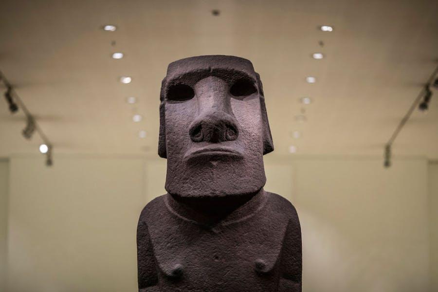 Hoa Hakananai'a, displayed at the British Museum in November 2018.