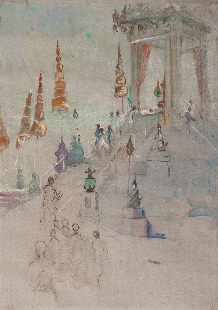 Cremation of King Rama VI of Siam (c. 1926), Hilda May Gordon. Martyn Gregory (£3,000)