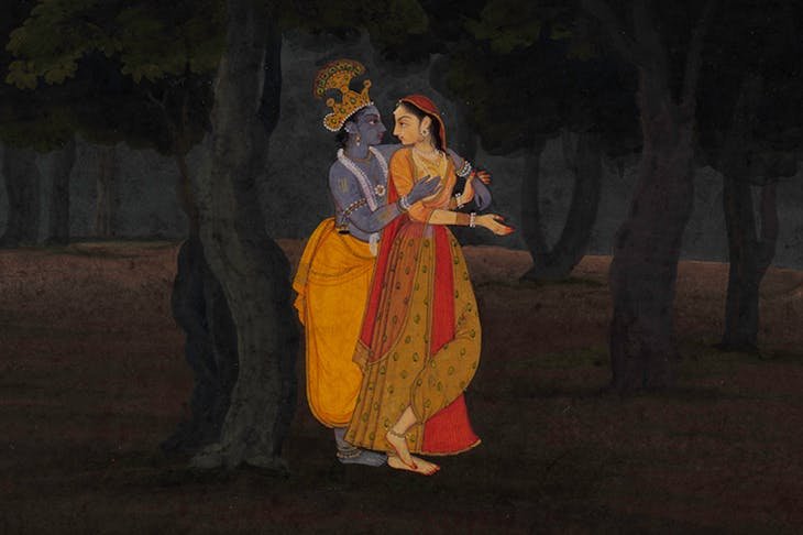 Radha and Krishna walking at night (detail; c. 1775–80), Punjab Hills, kingdom of Kangra or Guler.