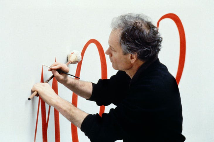 A portrait of Lothar Baumgarten at work for his show 'America Invention' at the Solomon R. Guggenheim Museum, New York in 1993.