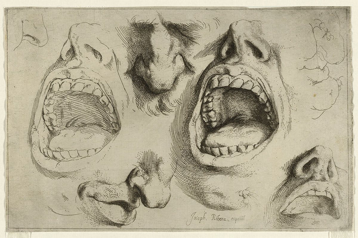 Studies of the Nose and Mouth (c. 1622), Jusepe de Ribera.