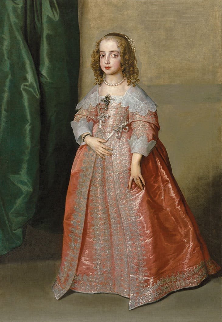 Portrait of Princess Mary (1631–1660), daughter of King Charles I of England, full-length, in a pink dress decorated with silver embroidery and ribbons (1641), Anthony van Dyck. Estimate £5m–£8m