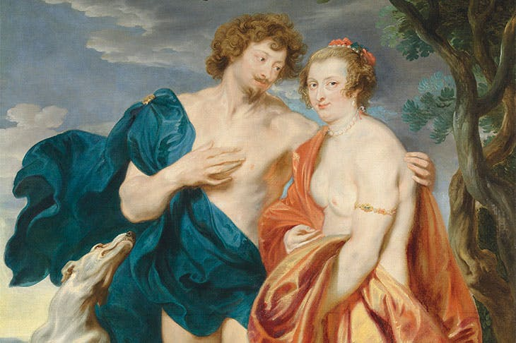 Double portrait of George Villiers, Marquess and later 1st Duke of Buckingham (1592–1628) and his wife, Katherine Manners (1603–1649), as Venus and Adonis (detail; 1620–21), Anthony van Dyck. Estimate £2.5m–£3.5m