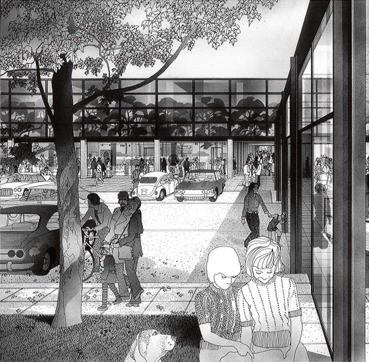 Drawing by Helmut Jacoby for The Plan for Milton Keynes (1970).