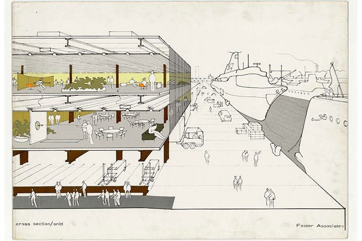Cross section by Norman Foster of the Fred Olsen Amenity Building, Millwall Docks, London (c. 1968–70).