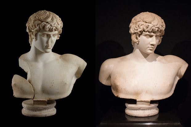 Cast of the bust Antinous, discovered in Balanea, Syria, in 1879, before it was restored (left); the restored original, Ashmolean Museum, Oxford and private collection