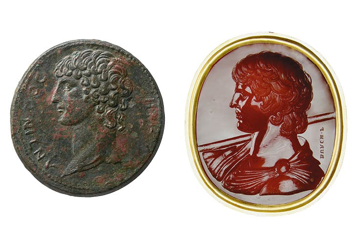 (Left) Antinous coin from Smyrna (AD 134–35); (right) Antinous Marlborough gem (1760–70), Edward Burch; Ashmolean Museum, Oxford (both)