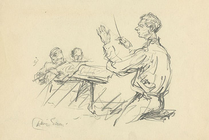 Drawing of Benjamin Britten by Milein Cosman.
