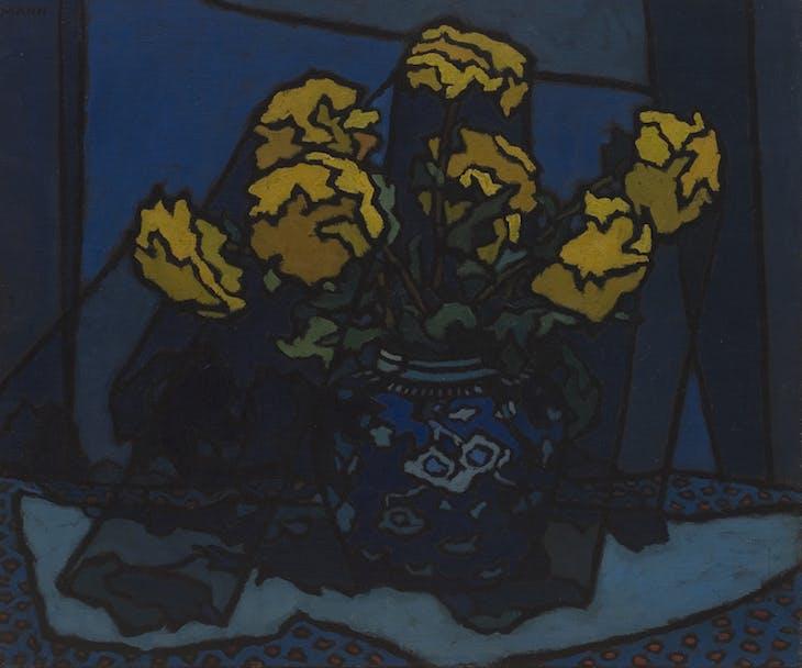 Dahlias in Blue Vase, Cyril Mann.