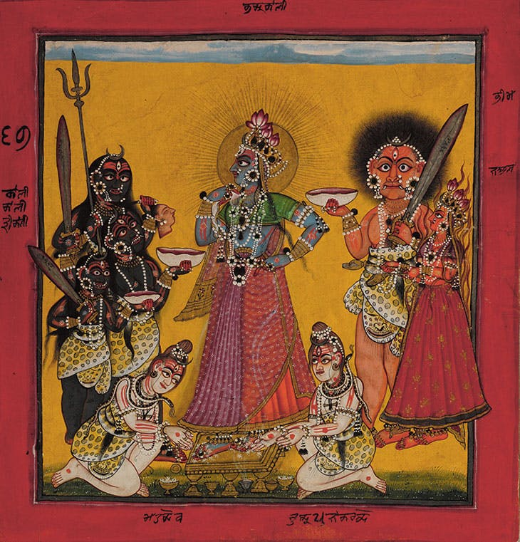 Devi in the Form of Bhadrakali Adored by the Gods (c. 1660–70), folio from a dispersed Tantric Devi series, attributed to the Master of the Early Rasamanjari.