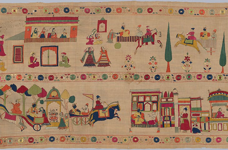 Festival Banner Showing Krishna Rescuing and Marrying Rukmini (c. 1800), India, Punjab Hills, kingdom of Chamba