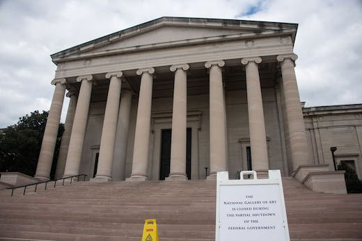 The National Gallery of Art in Washington, D.C. on 8 January 2019 during the US government shutdown.