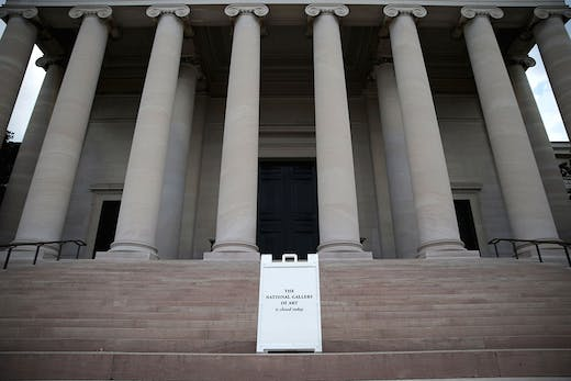 A sign outside the National Gallery of Art in Washington, D.C., on 1 October 2013, during the 16-day US government shutdown of 2013.