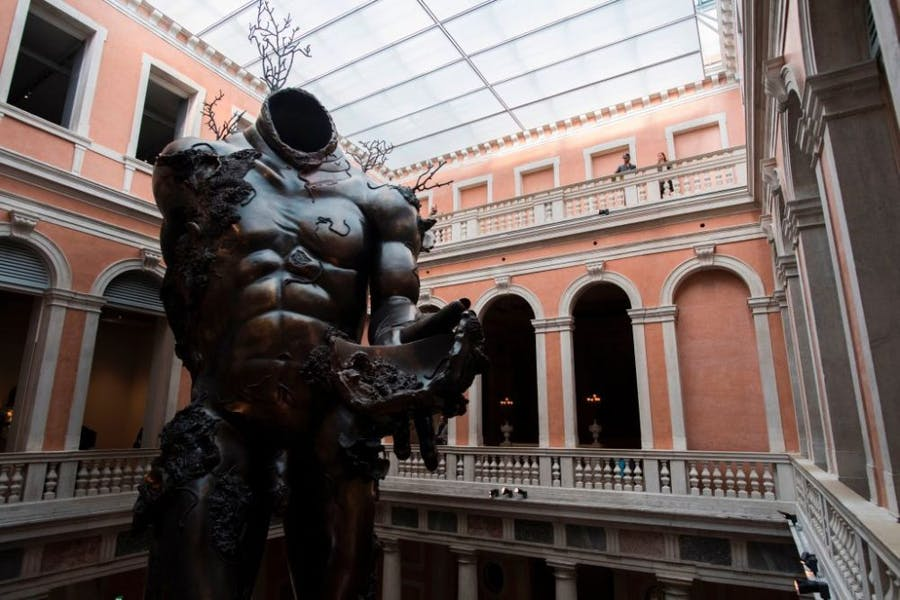 Installation view of Damien Hirst's Demon with Bowl in 'Treasures from the Wreck of the Unbelievable' at the Palazzo Grassi, Venice, 2017.