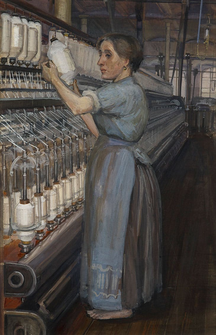In a Glasgow Cotton Spinning Mill: Changing the Bobbin (1907), Sylvia Pankhurst. Tate