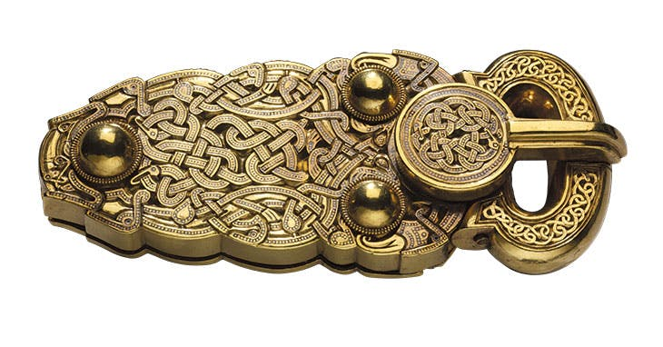 Belt buckle, early 7th century, excavated at Sutton Hoo ship burial site, Suffolk.