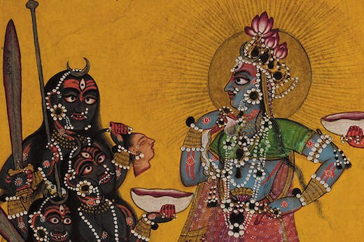 Devi in the Form of Bhadrakali Adored by the Gods (detail; c. 1660–70), folio from a dispersed Tantric Devi series, attributed to the Master of the Early Rasamanjari
